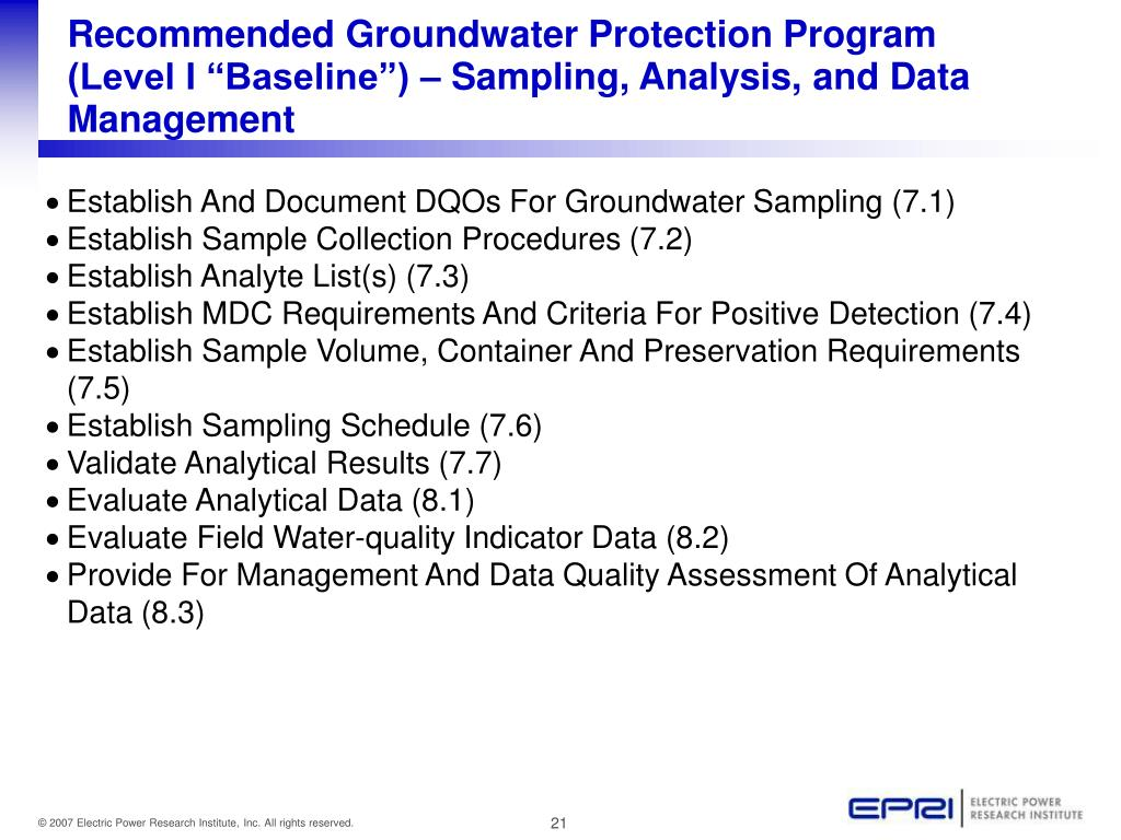 """Recommended Groundwater Protection Program (Level I """"Baseline"""") – Sampling, Analysis, and Data Management"""