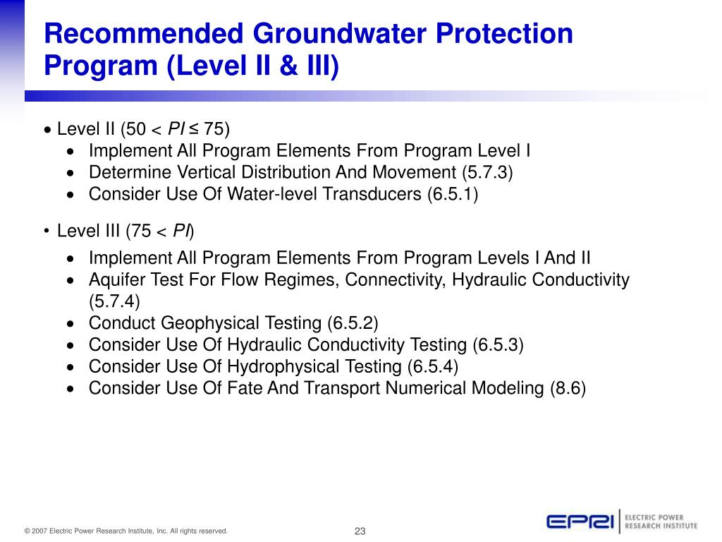 Recommended Groundwater Protection Program (Level II & III)