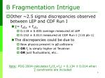 b fragmentation intrigue