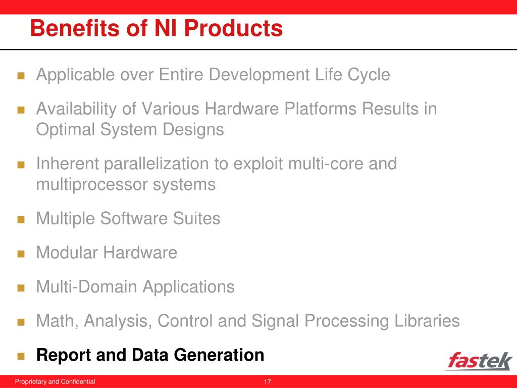 Benefits of NI Products