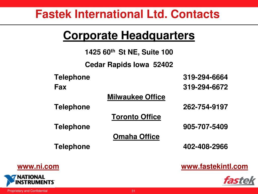 Fastek International Ltd. Contacts