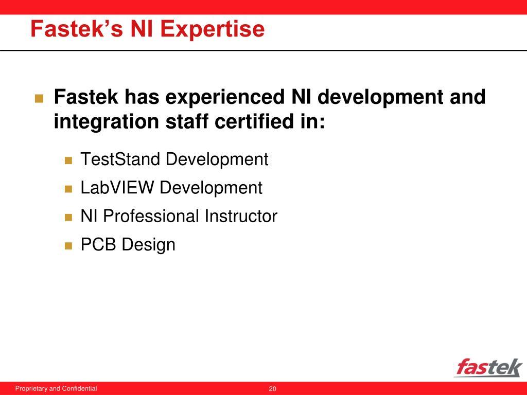 Fastek's NI Expertise
