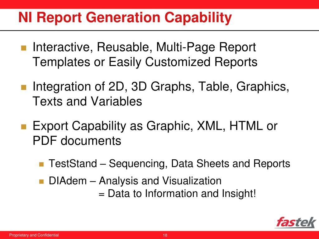 NI Report Generation Capability