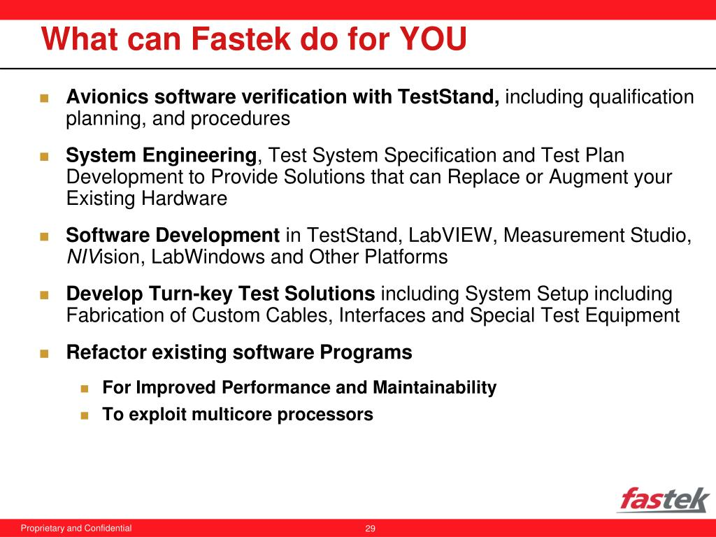 What can Fastek do for YOU