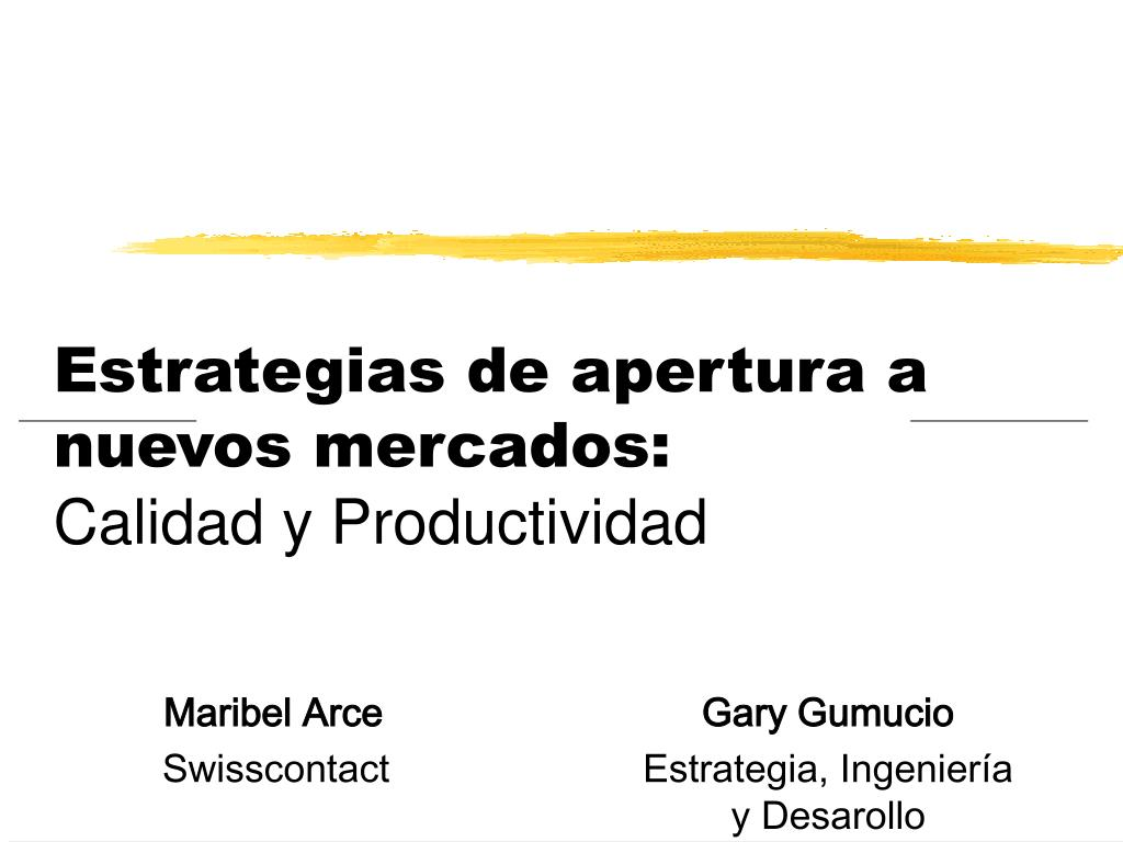 estrategias de apertura a nuevos mercados calidad y productividad l.