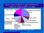 major cause of death in male residents of stoke on trent in 1997 all ages