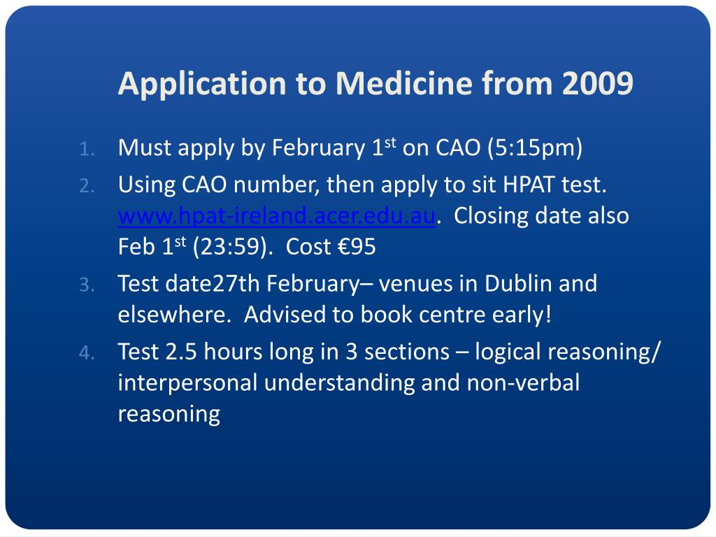 Application to Medicine from 2009