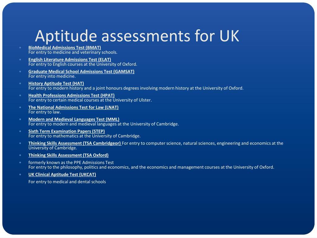 Aptitude assessments for UK