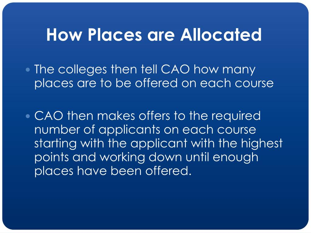 How Places are Allocated