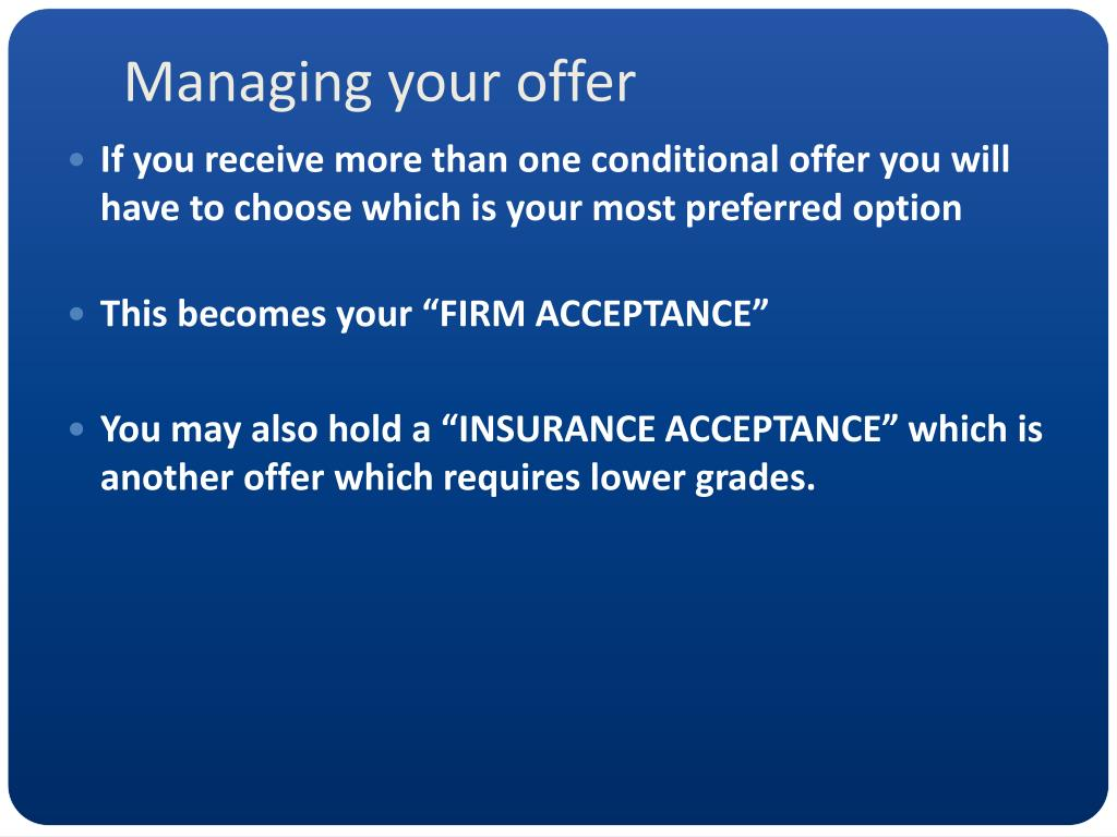 Managing your offer