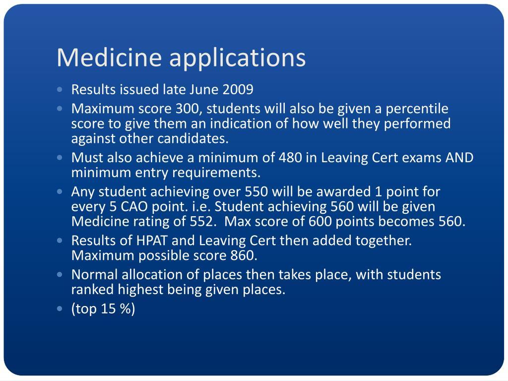 Medicine applications