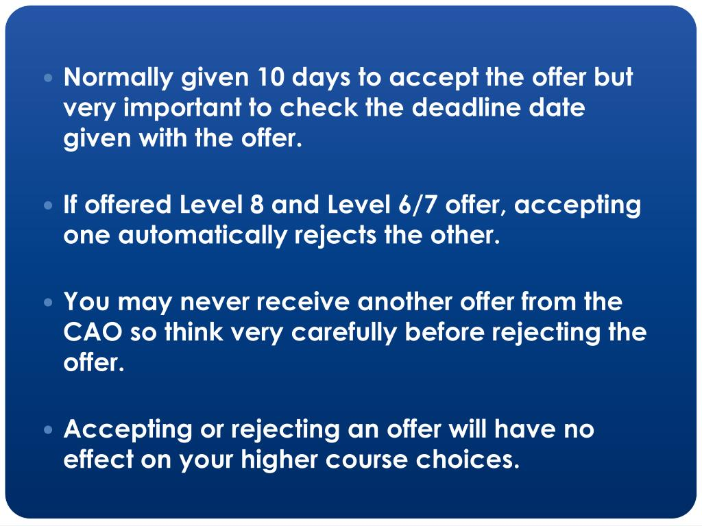 Normally given 10 days to accept the offer but very important to check the deadline date given with the offer.