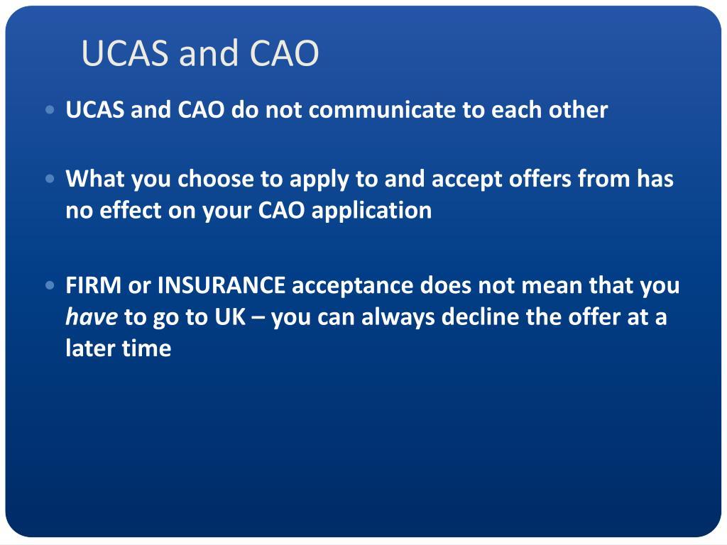 UCAS and CAO