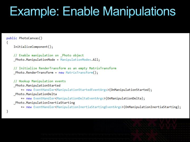 Example: Enable Manipulations