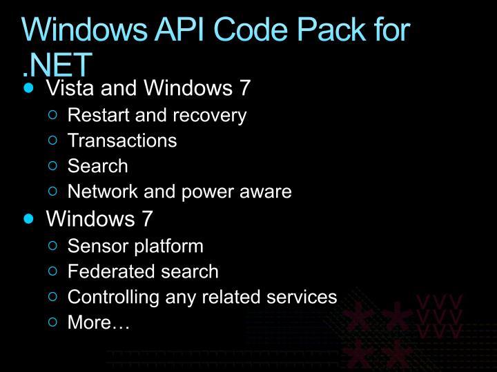 Windows API Code Pack for .NET