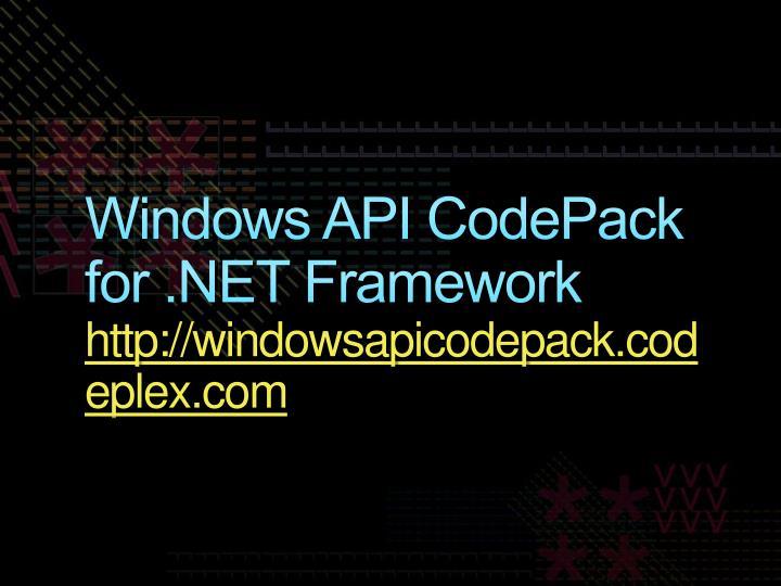 Windows API CodePack for .NET Framework