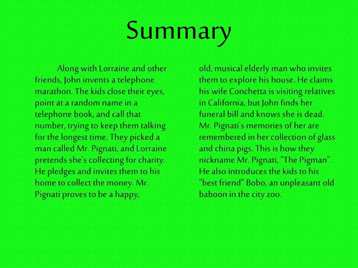 the pigman plot summary