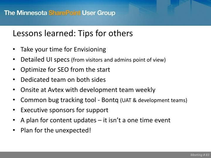 Lessons learned: Tips for