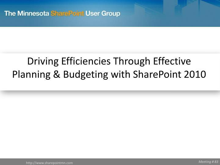 Driving Efficiencies