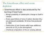 the greenhouse effect and ozone depletion
