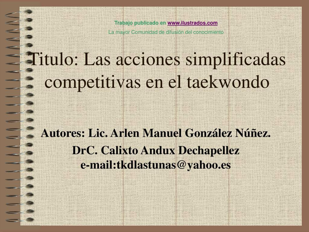 titulo las acciones simplificadas competitivas en el taekwondo l.
