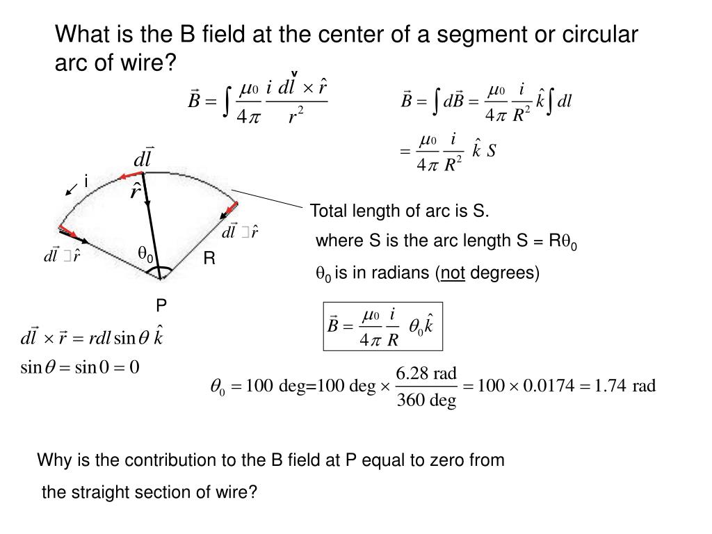 What is the B field at the center of a segment or circular arc of wire?