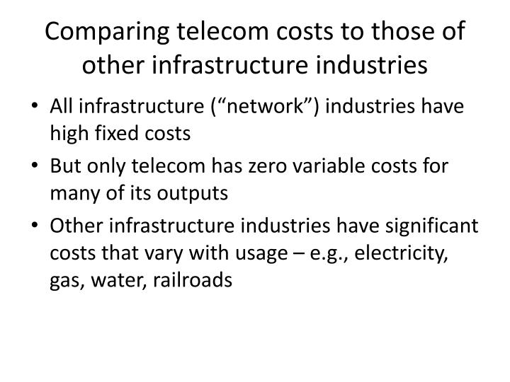 Comparing telecom costs to those of other infrastructure industries
