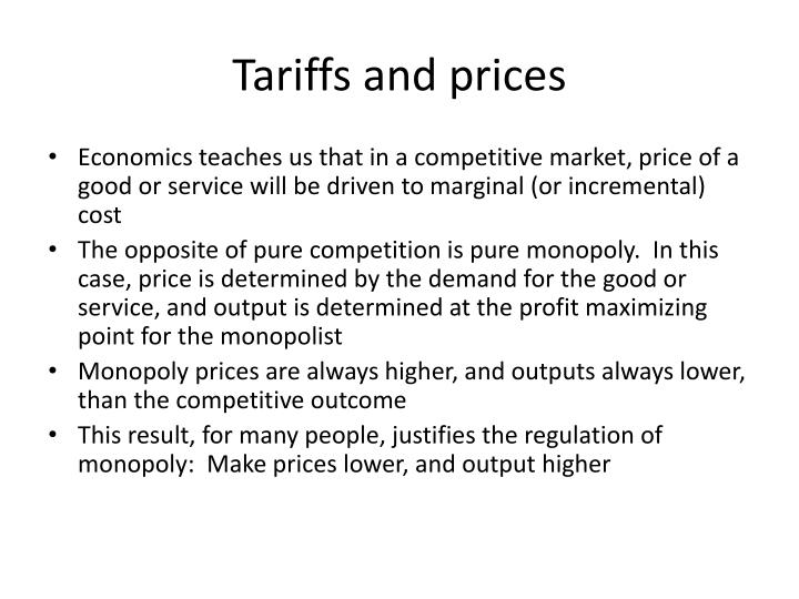 Tariffs and prices