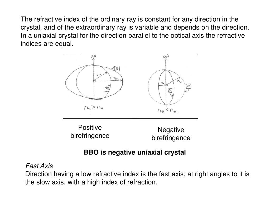 The refractive index of the ordinary ray is constant for any direction in the crystal, and of the extraordinary ray is variable and depends on the direction. In a uniaxial crystal for the direction parallel to the optical axis the refractive indices are equal.