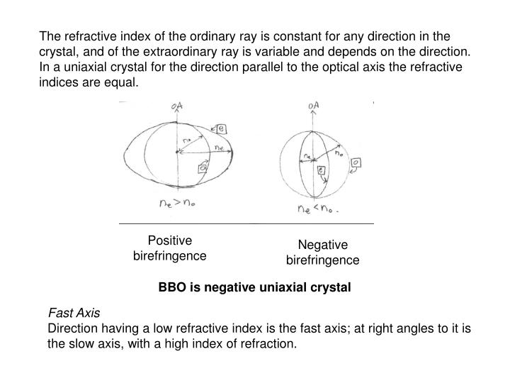 The refractive index of the ordinary ray is constant for any direction in the crystal, and of the ex...