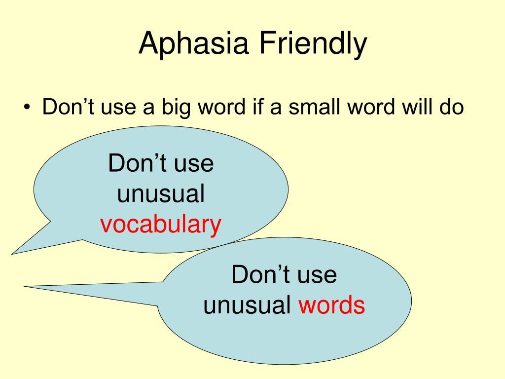 Aphasia Friendly