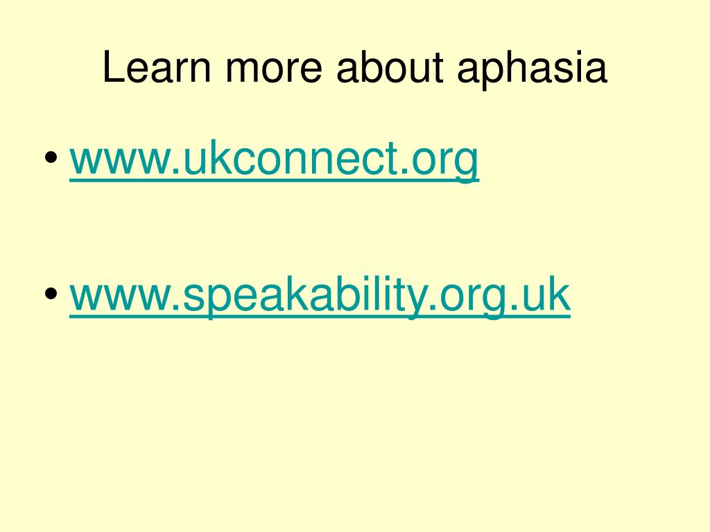 Learn more about aphasia