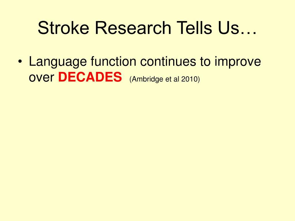 Stroke Research Tells Us…