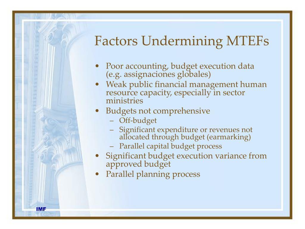Factors Undermining MTEFs