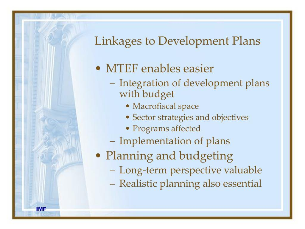 Linkages to Development Plans