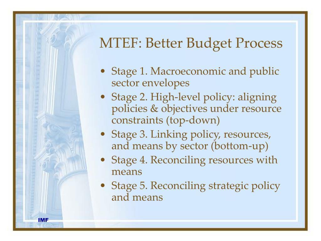 MTEF: Better Budget Process