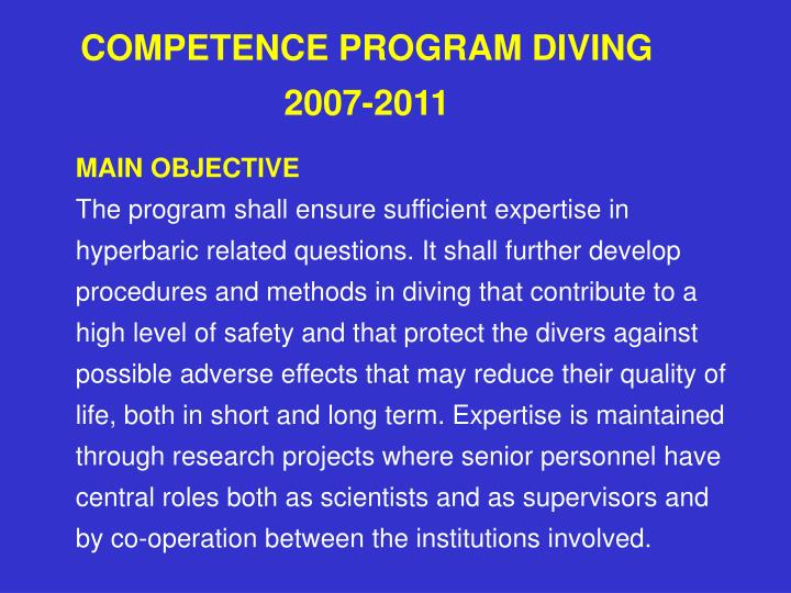 Competence program diving 2007 2011