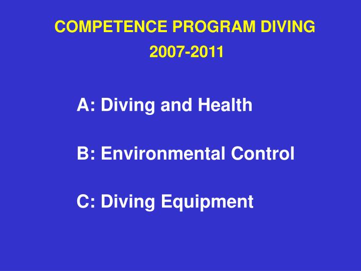 Competence program diving 2007 20112