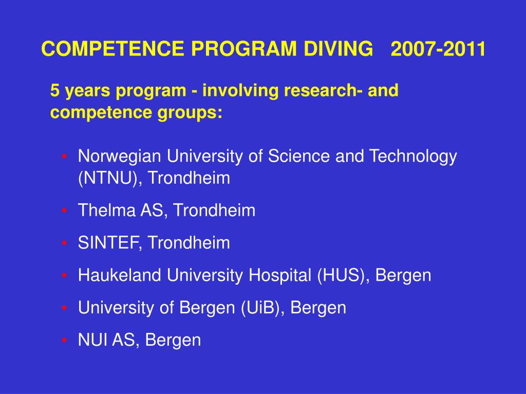 COMPETENCE PROGRAM DIVING   2007-2011