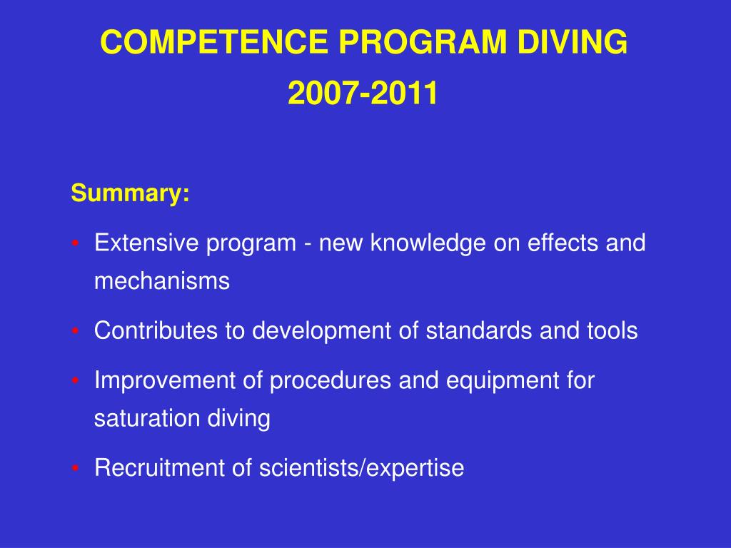 COMPETENCE PROGRAM DIVING
