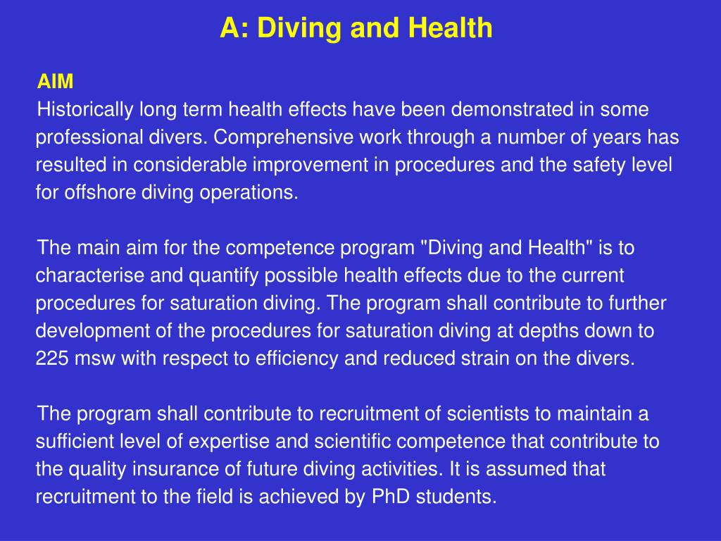 A: Diving and Health