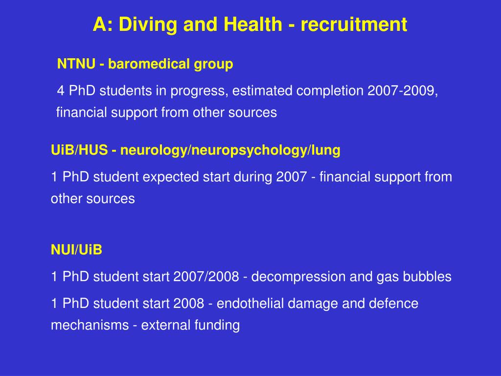 A: Diving and Health - recruitment