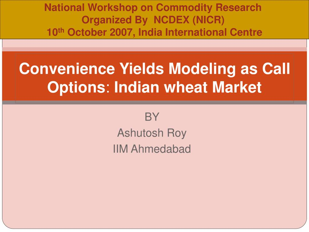 National Workshop on Commodity Research