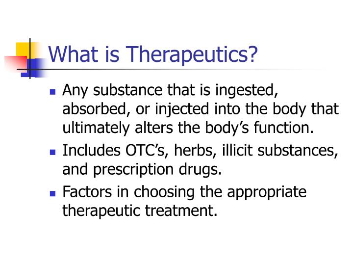 What is therapeutics