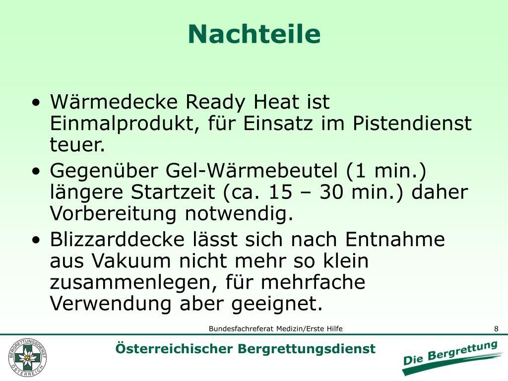 Wärmedecke Ready Heat ist Einmalprodukt, für Einsatz im Pistendienst teuer.