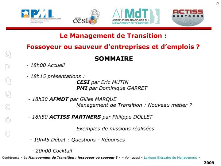 Le Management de Transition :