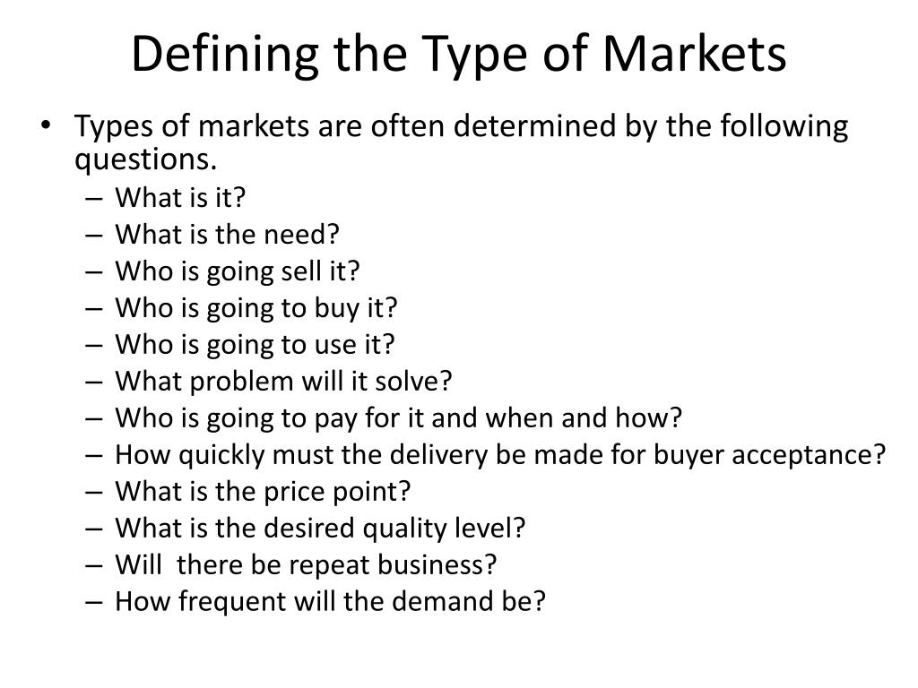 Defining the Type of Markets