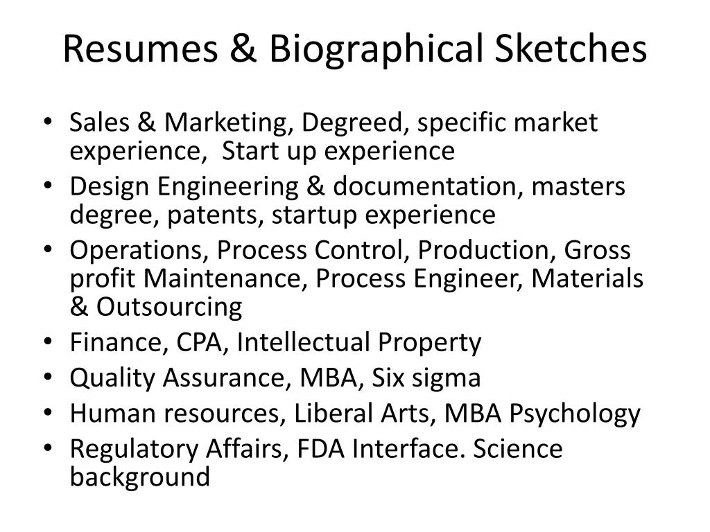 Resumes & Biographical Sketches
