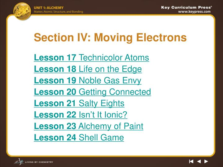 section iv moving electrons n.
