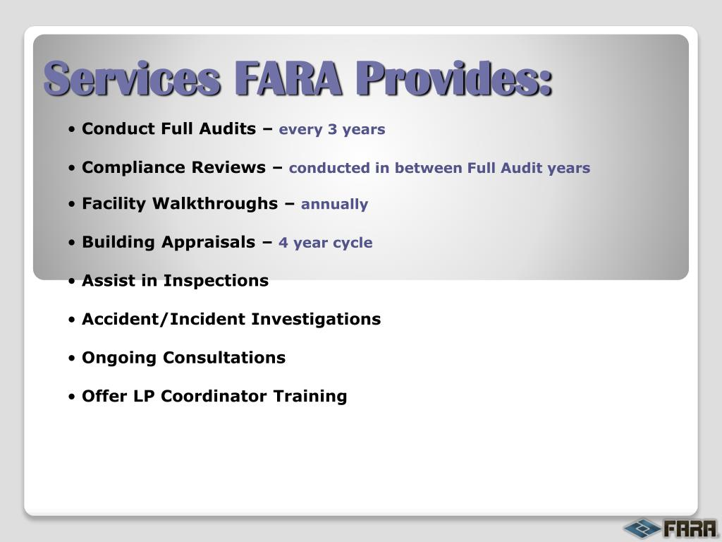 Services FARA Provides: